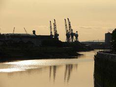 Shipyard cranes over the River Clyde