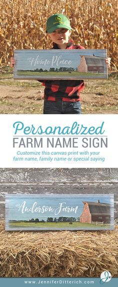 Celebrate your farm with a custom canvas sign | Personalize with your farm name, family name or special saying | This makes a thoughtful gift for a farmer, farmer's wife or farm family.