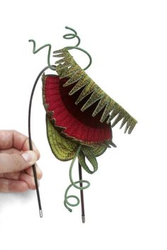 Betsie Withey/TheFaerieMarket - Venus Flytrap Headband: Embroidered Silk Fascinator
