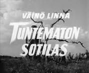 Titles, Tuntematon Sotilas (The Unknown Soldier), 1955. The film is an adaptation of the novel 'Tuntematon Sotilas' by Väinö Linna and follows a group of #Finnish soldiers throughout the #Jatkosota (Continuation War). It is shown on #Finnish TV every Independence Day (6th December)