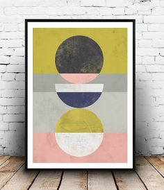 Home decor, Abstract print, Geometric art, Watercolor abstract, Pink yellow art, Wall prints, Minimalist art, Scandinavian print, wal art