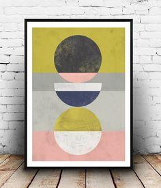 Home decor, Abstract print, Geometric art, Watercolor abstract, Pink yellow art, Wall prints, Minimalist art, Scandinavian print, wal art
