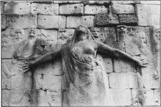 Detail of the sculpture of Paul Moreau Vauthier on the wall of the Federates, in the square leaning against the cemetery of Père-Lachaise.  Paris (XXème arr.), 1976. Photograph of Leon Claude Vénézia (1941-2013).