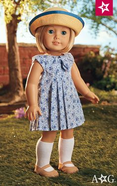 Kit's Play Dress $38  The days are getting longer, and Kit loves to enjoy the extra sunshine and fun with friends in this cheerful playtime outfit. Includes: A flower-patterned dress • A pair of socks and tan Mary Jane shoes • A straw hat with ribbon trim