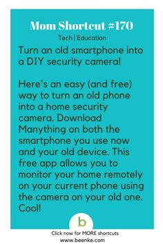 Tech and Education Shortcuts Old smartphone DIY security camera! Get your … Tech and Education Shortcuts Old smartphone DIY security camera! Get your daily source of awesome life hacks and parenting tips! CLICK NOW to discover more Mom Hacks. Life Hacks Iphone, Life Hacks Diy, Simple Life Hacks, Mom Hacks, Useful Life Hacks, Awesome Life Hacks, Life Hacks Websites, Daily Life Hacks, Life Hacks For Girls