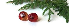 Streaky Red Glass Stud Earrings, Red and orange stud earrings, Fused Fossil Glass Earrings by thejeremiahtreeglass. Explore more products on http://thejeremiahtreeglass.etsy.com