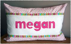 Personalized name scatter cushion made by Tula-tu Baby Linen (find our page on facebook)