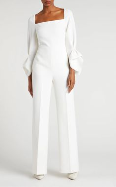 Bethany Jumpsuit Double Wool Crepe in White White Jumpsuit Formal, Formal Dresses With Sleeves, Wedding Jumpsuit, Designer Jumpsuits, Strapless Jumpsuit, Jumpsuit Outfit, Elegant Outfit, Jumpsuits For Women, Marie