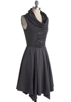 Storytelling Showstopper Dress. Standing center stage, you share an adventurous anecdote while wearing the cute cowl neck and pleated skirt accents of this ModCloth-exclusive dress! #grey #modcloth