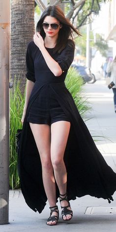 Kendall Jenner in a short-skirt hybrid and strappy sandals