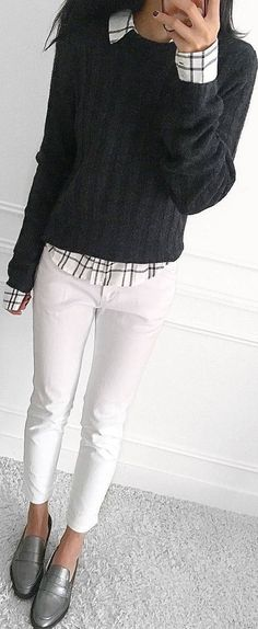 #fall #outfits grey sweater plaid button shirt white pants