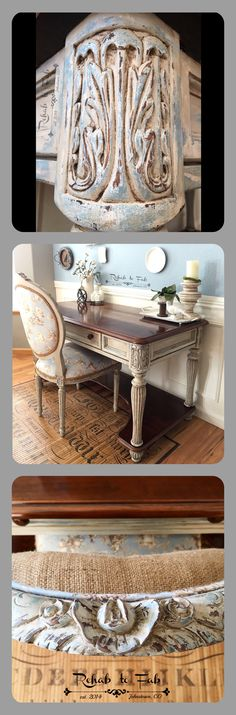 Heirloom Traditions Paint products were used on this French Country desk & toile upholstered chair done by Rehab to Fab.