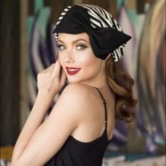 """Borderline turban hat Borderline Style Slouchy Turban- Black & White Striped Knit with Single Knit Black Bow a 1"""" elastic soft band inside.  One size fits all and will fit up to a 23"""" head size or customized size upon request.  All of Bella Starr hats are made and designed from my original patterns.  Caring for your hat: Hand wash and hand dry That Girl Beret can be folded for travel and all you need to do is steam or press to look good as new. Bella Starr Accessories Hats"""