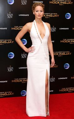 Jennifer Lawrence from The Hunger Games: Mockingjay Premieres Still keeping with the all-white effect, the Oscar winner switched to a sexier Mulger gown.