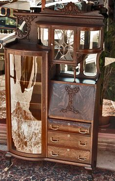 Oak Winged Griffin Secretary/Bookcase with Curio Cabinet
