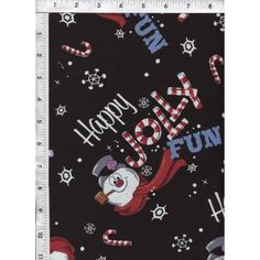 Snowflakes and candy canes surround Frosty the Snowman on a fun, bold, black background! www.americasbestthreads.com