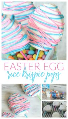 Easter Rice Krispie Treats Recipe Easter Rice Krispie Treats Easter Eggs on Sticks! Homemade Easter Desserts for a cute Centerpiece or Easter Egg Hunt Party Favor! Easter Snacks, Easter Candy, Easter Recipes, Easter Food, Easter Crafts, Cute Easter Treats For Kids, Easter Baking Ideas, Easter Stuff, Bunny Crafts