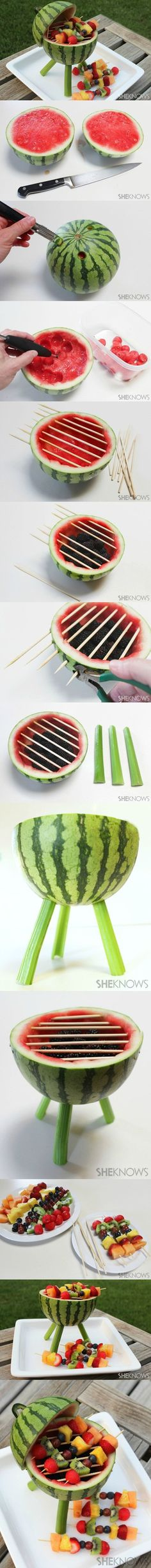 DIY Watermelon Grill With Fruit Kabobs