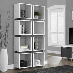 The Monarch 71 in. Bookcase is modern in style and high in function. This unique bookcase has an open back and is constructed. Living Room Grey, Living Room Decor, Bedroom Decor, Kids Bedroom, Dining Room, Cube Bookcase, Bookshelves, Modern Bookshelf, Bookshelf Ideas