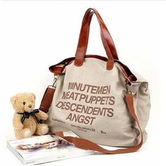 2013 New Arrived 4 Color Ultralarge Letter Dual-Use Casual Canvas Big Bag  Fashion Ladies c86796a764