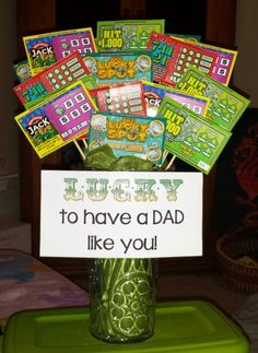 """Show Dad how lucky you are to have him with a lottery ticket bouquet. Pour rice or beans into a vase, attach lottery tickets to bamboo skewers and arrange the """"stems"""" in the rice."""