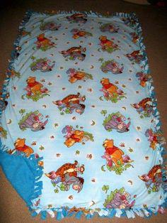 Winnie the Pooh w/ Blue back Fleece Tie Blanket