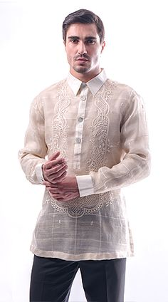 Custom-made tailored barongs by Exclusively His Tailoring. The Barong is a formal dress shirt in the Philippines. Men's Street Style Paris, Barong Tagalog, Filipiniana Dress, Kurta Style, Tropical Fashion, Stylish Mens Outfits, Collar Designs, Tailored Shirts, Indian Designer Outfits
