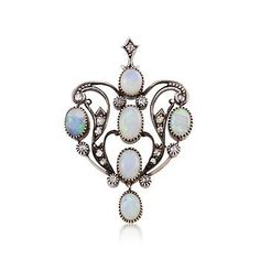 C. 1920 Vintage Opal and .25 ct. t.w. Diamond Pin Pendant In Two-Tone