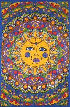 This Sun multi color tapestry, has a smiling sun with bright eyes. It is an image that can uplift any room or decor or spiritual setting. Made in India. x Sun Multi Color TapestryItem Number: WTSUNAzureGreen Trippy Tapestry, Tie Dye Tapestry, Blue Tapestry, Psychedelic Tapestry, Wall Tapestry, Hippie Shop, Hippie Bohemian, Light Wall Art, Hippie Room Decor