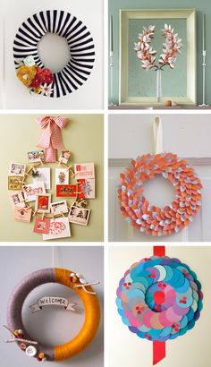 More wreaths.... Thinking the striped one but in red and white for Christmas?!?