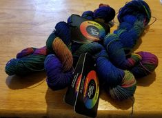 """Done Roving Yarns Wool Crepe. About 300 yards per hank, titled """"Party Girl"""". Hand wash & dry flat."""