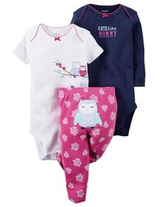 Carters Newborn 3 6 9 12 18 24 Months Owl Bodysuit Pants Set Baby Girl Clothes #Carters #Everyday