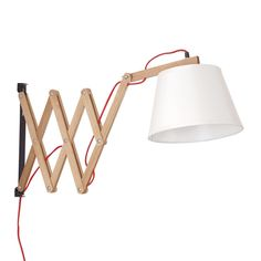 Lampe murale en bois de hêtre et abat-jour en toile blanche. Une composition originale qui illuminera les pièces de votre maison avec un style authentique. Se mélange à différents styles de décoration. Bras réglable et extensible. Fonctionne avec une ampoule E27 1*40W non incluse.