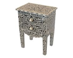 Bone Inlay Furniture -  Side Table Cabinet Black & White Pattern | Free Shipping