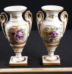 BEAUTIFUL HANDPAINTED VASES WITH HANDLES ON EACH SIDE, 10 IN. TALL