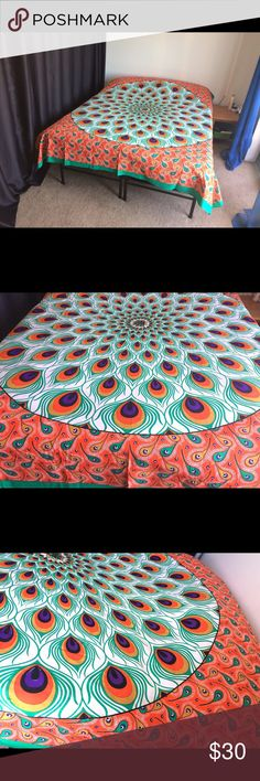 """Peacock feather wall hanging bed spread handmade🎁 Brand new.Handmade with natural dyes.  Uses: bed spread, couch spread, curtains, wallhangings, Celling decor, beach mat, picnic mat, table cloth, yoga & meditation.  Size: 90"""" X 84"""" inch ( Queen bed)   Material;100% Cotton  Wash: cold wash Other"""