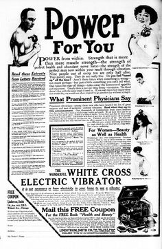 White Cross Electric Vibrator ad NYT 1913 - Vibrator (sex toy) - Wikipedia, the…