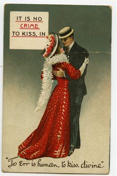 Newest acquisition! It is no Crime to Kiss Comic Postcard 1909