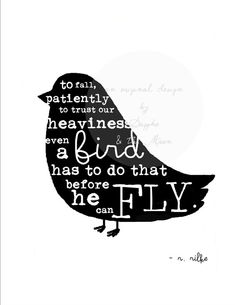 Rainer Maria Rilke Quote Print Black Bird by SapphoandTheMoon