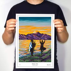 Iconic NEW Art from Steven Brown. Set in the Loch Ness this scene celebrates the Scottish musicians and highland dancers. Steven Brown Art, Steven S, The Loch, Framed Prints, Art Prints, Moulding, The Collector, Dancers, New Art