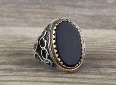 925 K Sterling Silver Man Ring  Black Onyx Gemstone 8,75 US Size $49.90