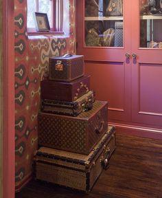vintage Louis Vuitton trunks in Martyn Lawrence Bullard's closet