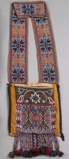 Great Lakes beaded bandolier bag, 19th c.