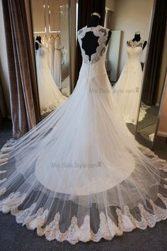 A-line Bateau Neckline Open Back Lace Wedding Dress
