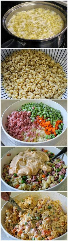 A pasta salad with NO MAYO. Not everyone likes mayo. Make this a healthier version by using fat-free or low-fat sour cream, jazzed up with fat-free french dressing and seasoned salt. Pasta Recipes, Salad Recipes, Dinner Recipes, Cooking Recipes, Healthy Recipes, Free Recipes, Summer Pasta Salad, Summer Salads, I Love Food