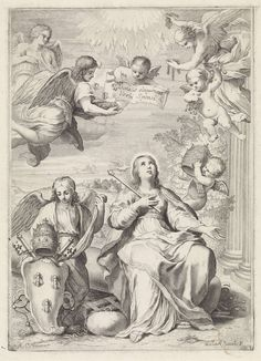 Michel Natalis | Allegorie op het pausschap van Urbanus VIII, Michel Natalis, 1632 - 1639 | Een engel ondersteunt het pauselijk wapen van paus Urbanus VIII. Daarnaast een vrouw met scepter, de personificatie van de Kerk, zittende op een omgevallen zuil, naast haar rechtervoet een steen met een ketting eraan. Een putto komt aanvliegen om de Kerk te kronen met de pauselijke tiara. Daarboven vliegen engelen, waarvan één met een omgekeerde vaas, één met een rotsblok en drie bijen en één met…