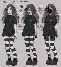 Persona Ref by DrawKill Cute Art Styles, Cartoon Art Styles, Dark Art Drawings, Cute Drawings, Harey Quinn, Pastel Goth Art, Creepy Art, Art Reference Poses, Horror Art