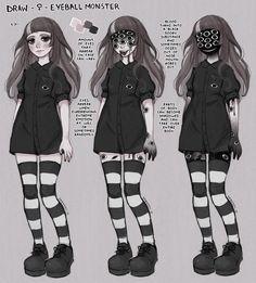 Persona Ref by DrawKill Character Design Inspiration, Character Art, Goth Art, Cute Art, Cartoon Art Styles, Dark Art Drawings, Cute Drawings, Pretty Art, Cute Art Styles