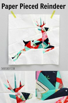 Sew up a paper pieced reindeer! This Christmas foundation paper piecing pattern is fun to sew and uses up lots of scraps.
