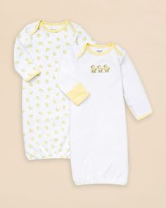 Little Me Infant Unisex Duck Gown 2 Pack - Sizes 0-3 Months